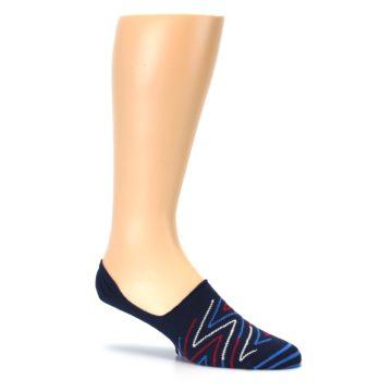 Image of Blue Red Zig-Zag Men's Liner Socks (side-1-26)