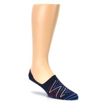 Image of Blue Red Zig-Zag Men's Liner Socks (side-1-27)
