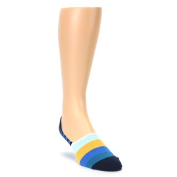 Image of Blue Orange White Striped Men's Liner Socks (side-1-front-02)