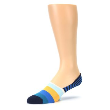 Image of Blue Orange White Striped Men's Liner Socks (side-2-09)