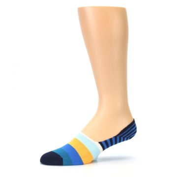 Image of Blue Orange White Striped Men's Liner Socks (side-2-10)