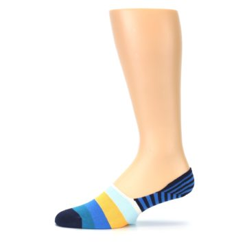 Image of Blue Orange White Striped Men's Liner Socks (side-2-11)