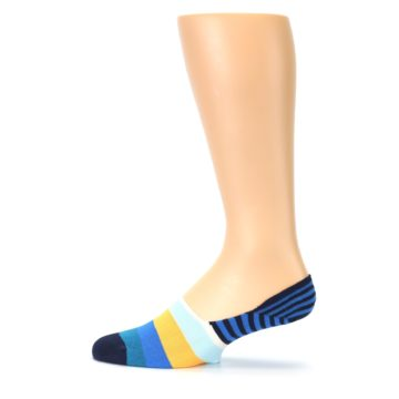 Image of Blue Orange White Striped Men's Liner Socks (side-2-12)