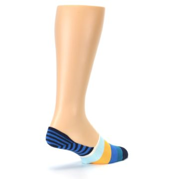 Image of Blue Orange White Striped Men's Liner Socks (side-1-back-22)