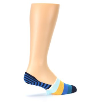 Image of Blue Orange White Striped Men's Liner Socks (side-1-23)