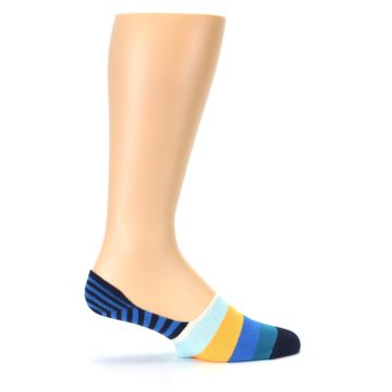Image of Blue Orange White Striped Men's Liner Socks (side-1-24)