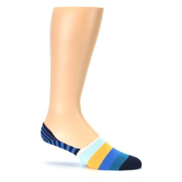 Image of Blue Orange White Striped Men's Liner Socks (side-1-25)