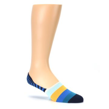 Image of Blue Orange White Striped Men's Liner Socks (side-1-26)