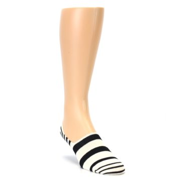 Image of Black White Stripes Men's Liner Socks (side-1-front-02)