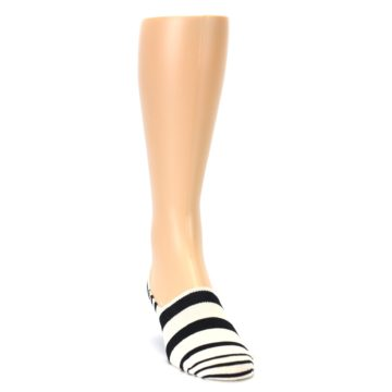 Image of Black White Stripes Men's Liner Socks (side-1-front-03)