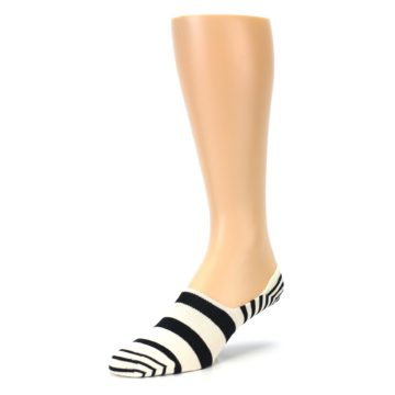 Image of Black White Stripes Men's Liner Socks (side-2-front-08)