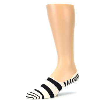 Image of Black White Stripes Men's Liner Socks (side-2-09)