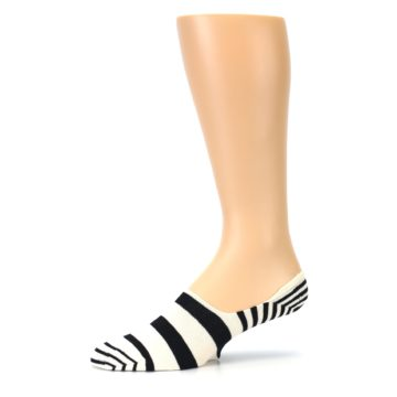 Image of Black White Stripes Men's Liner Socks (side-2-10)