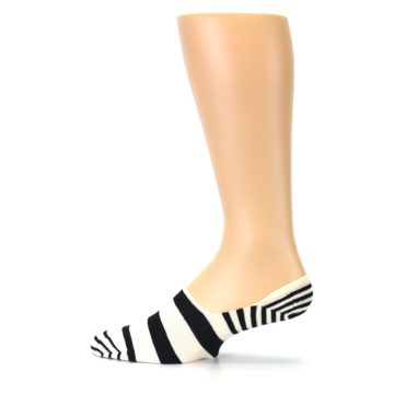 Image of Black White Stripes Men's Liner Socks (side-2-12)
