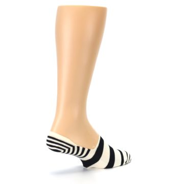 Image of Black White Stripes Men's Liner Socks (side-1-back-22)