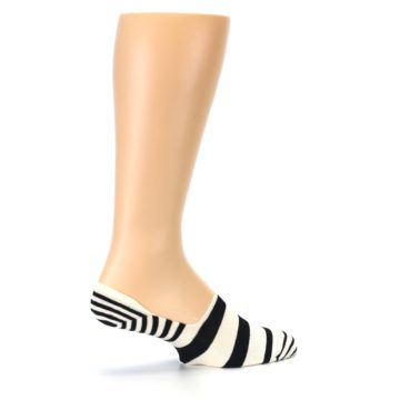 Image of Black White Stripes Men's Liner Socks (side-1-23)