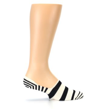 Image of Black White Stripes Men's Liner Socks (side-1-24)