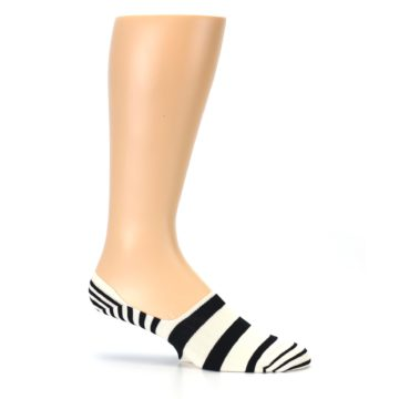 Image of Black White Stripes Men's Liner Socks (side-1-25)