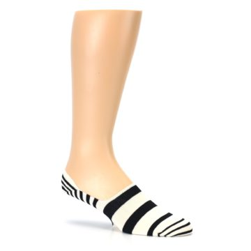 Image of Black White Stripes Men's Liner Socks (side-1-26)