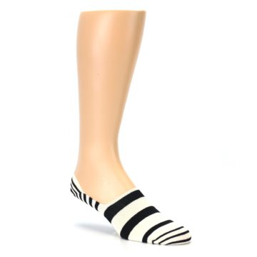 Image of Black White Stripes Men's Liner Socks (side-1-27)