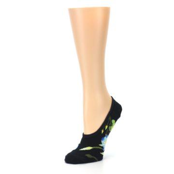 Image of Black Blue Green Flowers Women's No-Show Liner Socks (side-2-09)