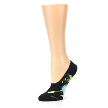 Image of Black Blue Green Flowers Women's No-Show Liner Socks (side-2-10)