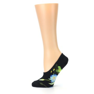 Image of Black Blue Green Flowers Women's No-Show Liner Socks (side-2-12)