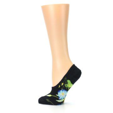 Image of Black Blue Green Flowers Women's No-Show Liner Socks (side-2-13)