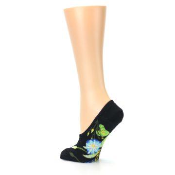 Image of Black Blue Green Flowers Women's No-Show Liner Socks (side-2-back-14)