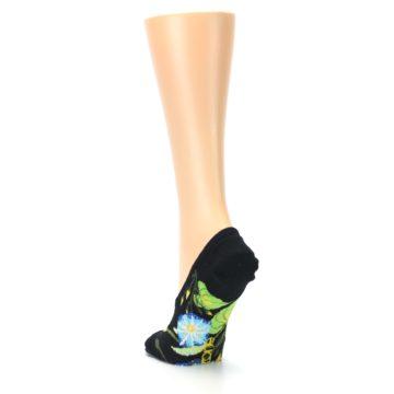 Image of Black Blue Green Flowers Women's No-Show Liner Socks (side-2-back-16)