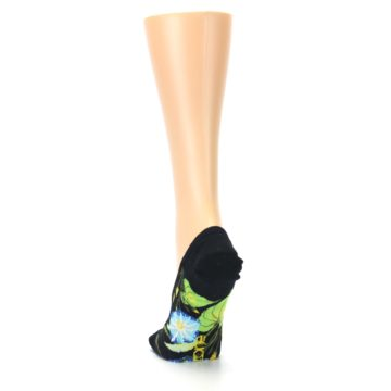 Image of Black Blue Green Flowers Women's No-Show Liner Socks (back-17)