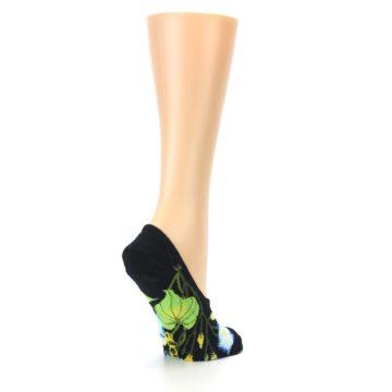 Image of Black Blue Green Flowers Women's No-Show Liner Socks (side-1-back-22)