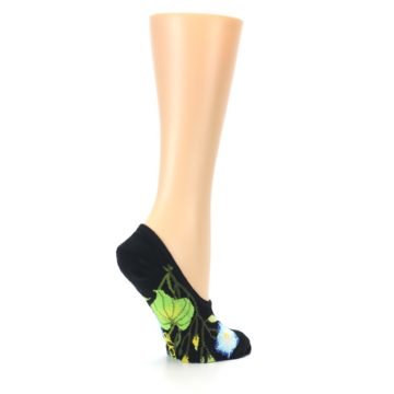 Image of Black Blue Green Flowers Women's No-Show Liner Socks (side-1-23)