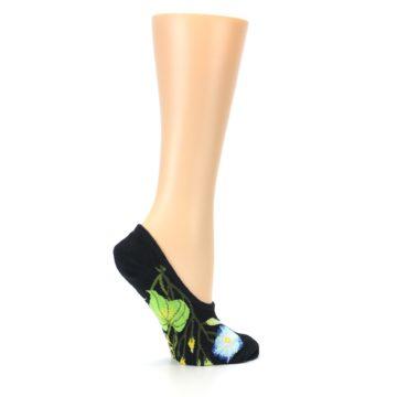 Image of Black Blue Green Flowers Women's No-Show Liner Socks (side-1-24)