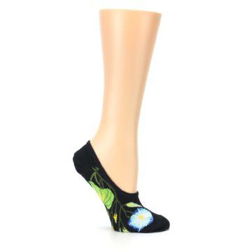Image of Black Blue Green Flowers Women's No-Show Liner Socks (side-1-25)