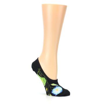 Image of Black Blue Green Flowers Women's No-Show Liner Socks (side-1-26)