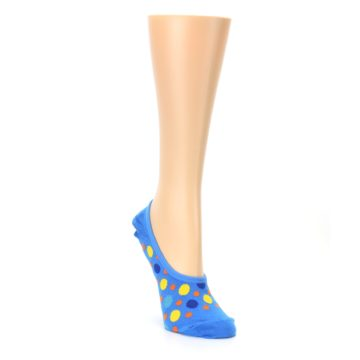 Image of Blue Multicolored Dots Women's No-Show Liner Socks (side-1-front-02)
