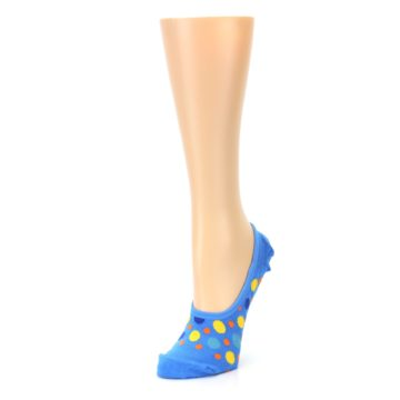 Image of Blue Multicolored Dots Women's No-Show Liner Socks (side-2-front-08)