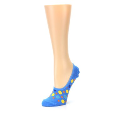 Image of Blue Multicolored Dots Women's No-Show Liner Socks (side-2-09)