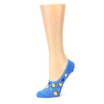 Image of Blue Multicolored Dots Women's No-Show Liner Socks (side-2-10)