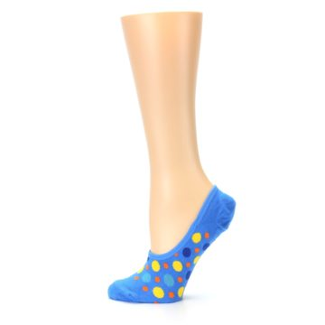 Image of Blue Multicolored Dots Women's No-Show Liner Socks (side-2-12)