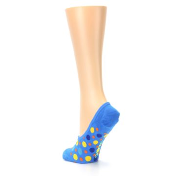 Image of Blue Multicolored Dots Women's No-Show Liner Socks (side-2-back-15)