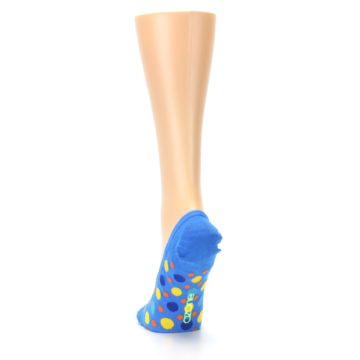 Image of Blue Multicolored Dots Women's No-Show Liner Socks (back-17)