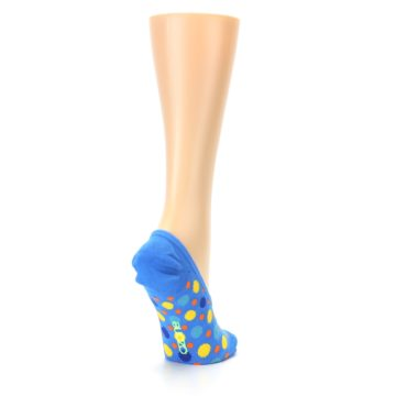 Image of Blue Multicolored Dots Women's No-Show Liner Socks (side-1-back-21)