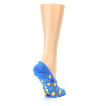 Image of Blue Multicolored Dots Women's No-Show Liner Socks (side-1-back-22)