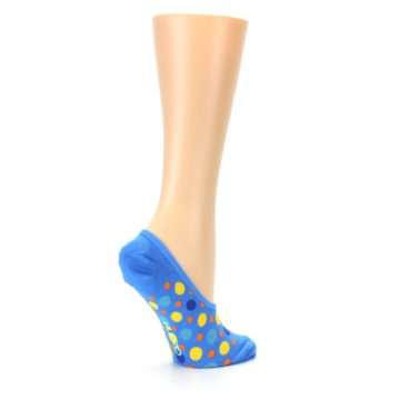 Image of Blue Multicolored Dots Women's No-Show Liner Socks (side-1-23)