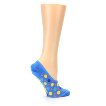 Image of Blue Multicolored Dots Women's No-Show Liner Socks (side-1-24)