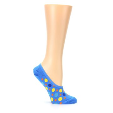 Image of Blue Multicolored Dots Women's No-Show Liner Socks (side-1-25)