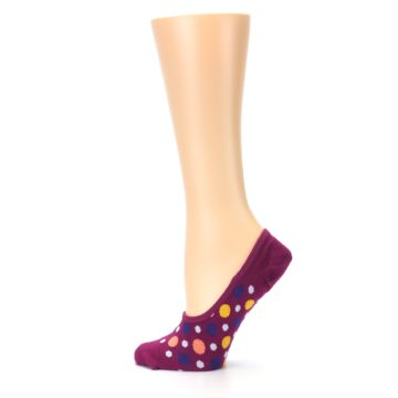 Image of Pink Multicolored Dots Women's No-Show Liner Socks (side-2-12)