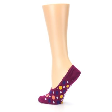 Image of Pink Multicolored Dots Women's No-Show Liner Socks (side-2-13)